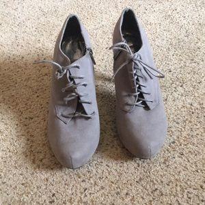 Gray High Heeled Booties